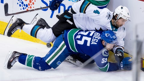 <p>               San Jose Sharks' Brenden Dillon (4) and Vancouver Canucks' Alex Biega (55) collide during the second period of an NHL hockey game in Vancouver, on Tuesday, April 2, 2019.  (Darryl Dyck/The Canadian Press via AP)             </p>