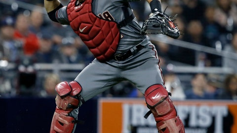 <p>               Arizona Diamondbacks catcher Alex Avila throws out San Diego Padres' Wil Myers on a ground out during the first inning of a baseball game in San Diego, Monday, April 1, 2019. (AP Photo/Alex Gallardo)             </p>