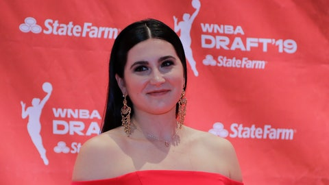 <p>               Megan Gustafson poses for photos before the WNBA basketball draft Wednesday, April 10, 2019, in New York. (AP Photo/Julie Jacobson)             </p>