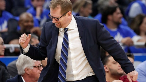 <p>               Toronto Raptors head coach Nick Nurse pumps his fist after his team scored a basket against the Orlando Magic during the second half in Game 3 of a first-round NBA basketball playoff series, Friday, April 19, 2019, in Orlando, Fla. (AP Photo/John Raoux)             </p>
