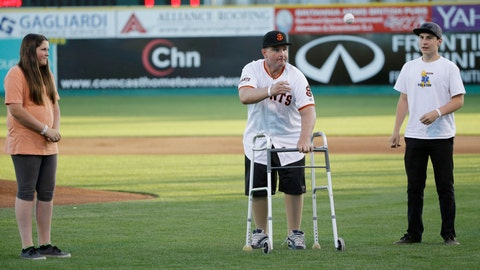 <p>               FILE - In this April 16, 2015, file photo, Bryan Stow, center, throws out the ceremonial first pitch as his children Tabitha, left, and Tyler watch during the San Jose Giants' minor league baseball home opener in San Jose, Calif. Stow was left brain damaged after an attack outside Dodger Stadium in Los Angeles in 2011. He said he is dismayed that Los Angeles police are again investigating an assault at the baseball stadium that left a man seriously injured over the weekend. No arrests have been made. (AP Photo/Marcio Jose Sanchez, File)             </p>
