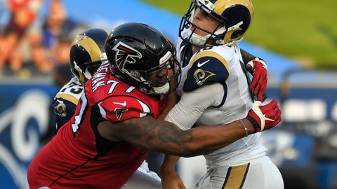 <p>               FILE - In this Dec. 11, 2016, file photo, Los Angeles Rams quarterback Jared Goff, right, is hit by Atlanta Falcons defensive tackle Ra'Shede Hageman during the second half of an NFL football game in Los Angeles. The Falcons have signed Hageman, giving a second chance to the defensive tackle the team released in 2017 after he was charged with domestic violence. (AP Photo/Mark J. Terrill, File)             </p>