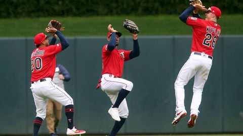 <p>               Minnesota Twins outfielders, from left, Eddie Rosario, Byron Buxton and Max Kepler celebrate with basketball-like shooting moves in the Twins 4-1 win over the Baltimore Orioles after a baseball game Sunday, April 28, 2019, in Minneapolis. The Twins won 4-1. Kepler and Buxton both hit home runs. (AP Photo/Jim Mone)             </p>