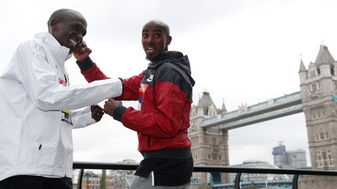 <p>               Britain's Mo Farah, right, and Kenya's Eliud Kipchoge pose for the media during a photo call for the London Marathon in London, Wednesday, April 24, 2019. Kipchoge and Farah are part of the Elite Men taking part in the 39th London Marathon which takes place Sunday April 28. (AP Photo/Alastair Grant)             </p>