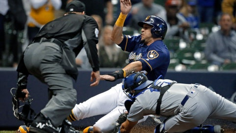 <p>               Milwaukee Brewers' Hernan Perez is tagged out at home by Los Angeles Dodgers' Austin Barnes during the eighth inning of a baseball game Thursday, April 18, 2019, in Milwaukee. (AP Photo/Aaron Gash)             </p>
