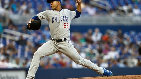 <p>               Chicago Cubs starting pitcher Jose Quintana (62) delivers during the first inning of a baseball game against the Miami Marlins on Tuesday, April 16, 2019, in Miami. (AP Photo/Brynn Anderson)             </p>