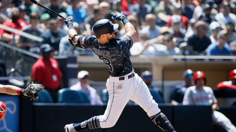 <p>               San Diego Padres' Austin Hedges follows through on a solo home run during the third inning of a baseball game against the Cincinnati Reds in San Diego, Sunday, April 21, 2019. (AP Photo/Alex Gallardo)             </p>