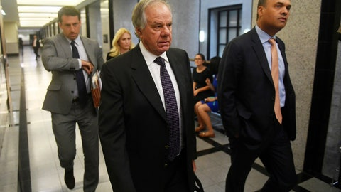 <p>               Attorneys Jack Goldberger, center, Alex Spiro, left, and William Burck, the defense team for New England Patriots owner Robert Kraft, make their way to Courtroom 2E at the Palm Beach County Courthouse, Friday, April 12, 2019, in West Palm Beach, Fla., for a status hearing in a prostitution case against Kraft. (Patrick Dove/TCPalm.com via AP, Pool)             </p>