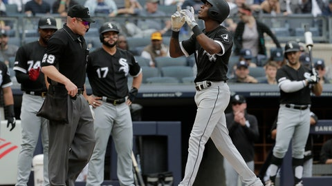 <p>               Chicago White Sox's Tim Anderson, right, reacts as he crosses home plate after hitting a grand slam during the fourth inning of a baseball game against the New York Yankees at Yankee Stadium, Sunday, April 14, 2019, in New York. (AP Photo/Seth Wenig)             </p>