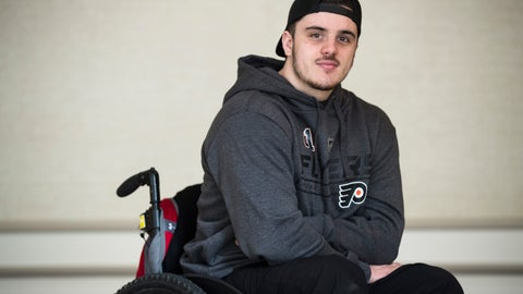 <p>               In this Wednesday, March 20, 2019 photo, Ryan Straschnitzki poses for a photograph in Philadelphia, Straschnitzki, a young hockey player was paralyzed in the Humboldt Broncos bus crash in Canada. (AP Photo/Matt Rourke)             </p>