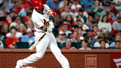 <p>               St. Louis Cardinals' Yadier Molina hits a two-run home run during the sixth inning of the team's baseball game against the Los Angeles Dodgers on Wednesday, April 10, 2019, in St. Louis. (AP Photo/Jeff Roberson)             </p>
