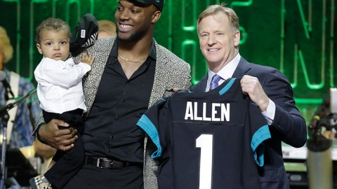 <p>               Kentucky linebacker Josh Allen poses with NFL Commissioner Roger Goodell after the Jacksonville Jaguars selected Allen in the first round at the NFL football draft, Thursday, April 25, 2019, in Nashville, Tenn. (AP Photo/Steve Helber)             </p>