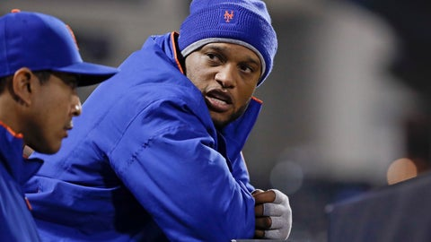<p>               New York Mets' Robinson Cano talks to teammates during the ninth inning of a baseball game against the Cincinnati Reds, Monday, April 29, 2019, in New York. (AP Photo/Frank Franklin II)             </p>