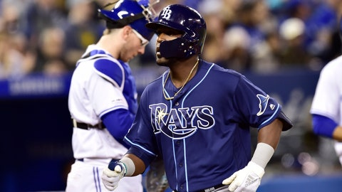 <p>               Tampa Bay Rays pinch hitter Guillermo Heredia crosses the plate after hitting a solo home run during eighth inning MLB baseball action against the Toronto Blue Jays in Toronto on Sunday, April 14, 2019. (Frank Gunn/The Canadian Press via AP)             </p>