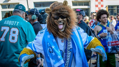 <p>               Detroit Lions fan Aaron Latimer from Saginaw, Michigan supports his team during the NFL Draft, Friday, April 26, 2019 in Nashville, Tenn. While it isn't unusual for fans who cheer for the same teams to bond at the NFL Draft, several super fans in Nashville for Friday's second and third rounds have enjoyed getting to know fans of teams they will be rooting against when the season kicks off in the fall. (AP Photo/Jim Diamond)             </p>