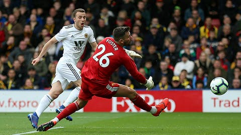 <p>               Wolverhampton Wanderers' Diogo Jota scores his side's second goal of the game during their English Premier League soccer match against Watford at Vicarage Road, Watford, England, Saturday, April 27, 2019. (Nigel French/PA via AP)             </p>