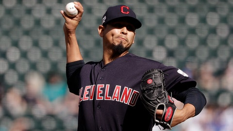 <p>               Cleveland Indians starting pitcher Carlos Carrasco throws to a Seattle Mariners batter during the first inning of a baseball game Wednesday, April 17, 2019, in Seattle. (AP Photo/Elaine Thompson)             </p>