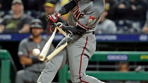 <p>               Arizona Diamondbacks' Jarrod Dyson breaks his bat on a fielder's choice in the seventh inning of a baseball game against the Pittsburgh Pirates in Pittsburgh, Monday, April 22, 2019. Diamondbacks' Nick Ahmed was out attempting to score from third on the play. (AP Photo/Gene J. Puskar)             </p>
