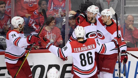 <p>               Carolina Hurricanes center Jordan Staal (11) celebrates his goal with right wing Nino Niederreiter, right, left wing Teuvo Teravainen (86), of Finland, and defenseman Jaccob Slavin (74) during the third period of Game 7 of an NHL hockey first-round playoff series against the Washington Capitals, Wednesday, April 24, 2019, in Washington. (AP Photo/Nick Wass)             </p>