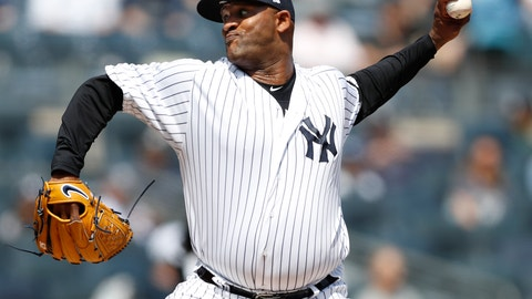 <p>               New York Yankees starting pitcher CC Sabathia throws during the first inning of a baseball game against the Chicago White Sox, Saturday, April 13, 2019, in New York. (AP Photo/Kathy Willens)             </p>