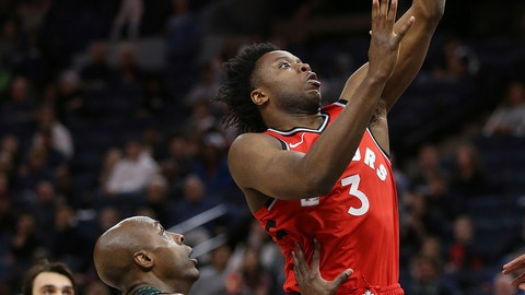 <p>               Toronto Raptors' OG Anunoby shoots next to Minnesota Timberwolves' Anthony Tolliver during the second half of an NBA basketball game Tuesday, April 9, 2019, in Minneapolis. Toronto won 120-100. (AP Photo/Stacy Bengs)             </p>