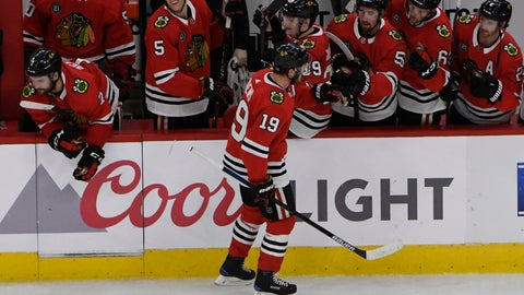 <p>               Chicago Blackhawks center Jonathan Toews (19) celebrates his goal against the St. Louis Blues during the shootout in an NHL hockey game Wednesday, April 3, 2019, in Chicago. (AP Photo/David Banks)             </p>