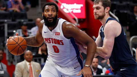 <p>               Detroit Pistons center Andre Drummond (0) drives on Memphis Grizzlies center Tyler Zeller (45) in the first half of an NBA basketball game in Detroit, Tuesday, April 9, 2019. (AP Photo/Paul Sancya)             </p>