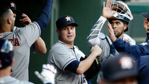 <p>               Houston Astros starting pitcher Brad Peacock (41) is greeted in the dugout by teammates in the first inning of a baseball game against the Texas Rangers in Arlington, Texas, Monday, April 1, 2019. (AP Photo/Tony Gutierrez)             </p>