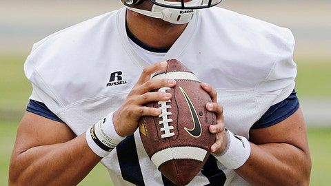 <p>               FILE - In this March 27, 2017, file photo, Georgia Tech quarterback Lucas Johnson runs a drill during an NCAA college football practice in Atlanta. Johnson has emerged as the favorite to start at quarterback after missing all of last season with a foot injury.(AP Photo/David Goldman, File)             </p>
