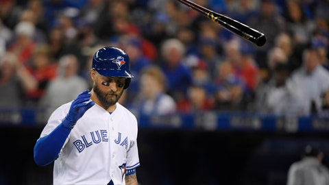<p>               Toronto Blue Jays' Kevin Pillar (11) tosses his bat after striking out during the fifth inning of a baseball game against the Detroit Tigers in Toronto, Thursday, March 28, 2019. (Nathan Denette/The Canadian Press via AP)             </p>