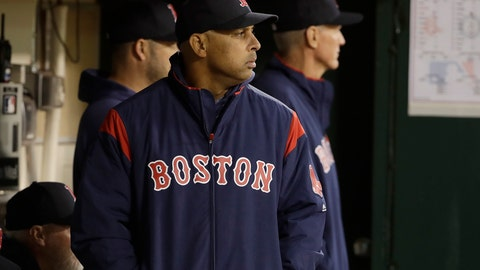 <p>               Boston Red Sox manager Alex Cora watches from the dugout during the fifth inning of a baseball game against the Oakland Athletics in Oakland, Calif., Monday, April 1, 2019. (AP Photo/Jeff Chiu)             </p>