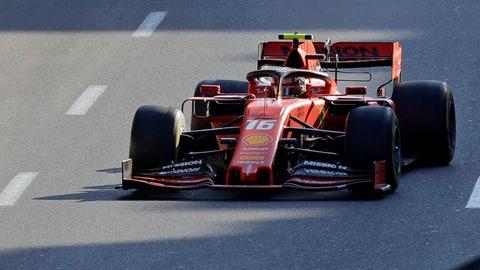 <p>               Ferrari driver Charles Leclerc of Monaco steers his car during the Formula One Grand Prix at the Baku Formula One city circuit in Baku, Azerbaijan, Sunday, April 28, 2019. (AP Photo/Sergei Grits)             </p>