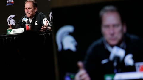 <p>               Michigan State head coach Tom Izzo speaks after a practice session for the semifinals of the Final Four NCAA college basketball tournament, Thursday, April 4, 2019, in Minneapolis. (AP Photo/Matt York)             </p>