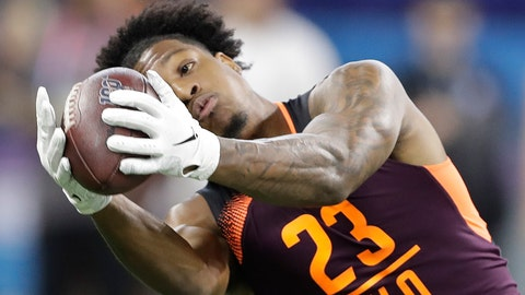 <p>               FILE - In this March 2, 2019, file photo, Arizona State wide receiver N'Keal Harry runs a drill during the NFL football scouting combine, in Indianapolis. Harry is a possible pick in the 2019 NFL Draft. (AP Photo/Darron Cummings, File)             </p>