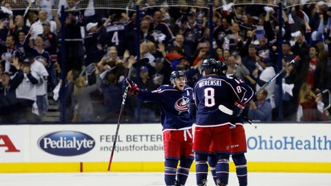 <p>               Columbus Blue Jackets players celebrate their goal against the Tampa Bay Lightning during the third period of Game 4 of an NHL hockey first-round playoff series, Tuesday, April 16, 2019, in Columbus, Ohio. The Blue Jackets beat the Lightning 7-3. (AP Photo/Jay LaPrete)             </p>