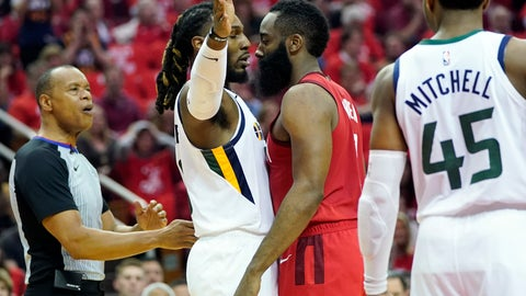 <p>               Utah Jazz forward Jae Crowder, center left, and Houston Rockets guard James Harden, center right, come face to face during the first half in Game 5 of an NBA basketball playoff series, in Houston, Wednesday, April 24, 2019. (AP Photo/David J. Phillip)             </p>