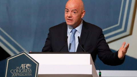 <p>               FIFA President Gianni Infantino speaks during the 29th AFC Congress in Kuala Lumpur, Malaysia, Saturday, April 6, 2019. The Asian Football Confederation holds its presidential election on Saturday. (AP Photo/Vincent Thian)             </p>