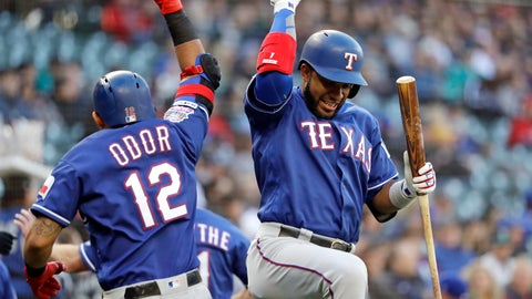 <p>               Texas Rangers' Elvis Andrus, right, congratulates Rougned Odor (12) after Odor's three-run home run against the Seattle Mariners in the second inning of a baseball game, Saturday, April 27, 2019, in Seattle. (AP Photo/Elaine Thompson)             </p>