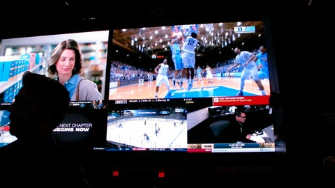 <p>               This March 8, 2019 photo shows a fan watching the first day of the March Madness college basketball tournament at the Borgata casino in Atlantic City N.J. Figures released by state gambling regulators on Thursday, April 25, 2019 show more than $106 million was wagered on the NCAA basketball championship tournament in New Jersey _ three times the amount wagered on the Super Bowl. (AP Photo/Wayne Parry)             </p>