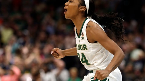 <p>               Baylor guard Chloe Jackson cheers during the second half against Notre Dame the Final Four championship game of the NCAA women's college basketball tournament Sunday, April 7, 2019, in Tampa, Fla. Baylor defeated Notre Dame 82-81. (AP Photo/Chris O'Meara)             </p>