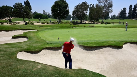 <p>               Ariya Jutanugarn, of Thailand, hits out of a bunker on the fourth hole during the first round of the HUGEL-Air Premia LA Open golf tournament at Wilshire Country Club Thursday, April 25, 2019, in Los Angeles. (AP Photo/Mark J. Terrill)             </p>