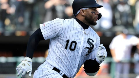 <p>               Chicago White Sox's Yoan Moncada runs to first base after hitting a two-run single against the Seattle Mariners during the seventh inning of a baseball game Friday, April 5, 2019, in Chicago. (AP Photo/Nam Y. Huh)             </p>