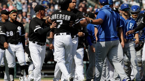 <p>               Chicago White Sox's Tim Anderson (7) is restrained by Jose Abreu after he was hit by a pitch from the Kansas City Royals, as benches cleared during the sixth inning of a baseball game in Chicago, Wednesday, April 17, 2019. The Royals won 4-3 in 10 innings. (AP Photo/Nam Y. Huh)             </p>