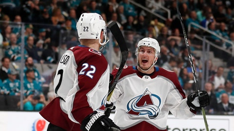 <p>               Colorado Avalanche's Colin Wilson (22) celebrates his goal with Tyson Barrie (4), right, against the San Jose Sharks in the second period of Game 1 of an NHL hockey second-round playoff series at the SAP Center in San Jose, Calif., on Friday, April 26, 2019. (AP Photo/Josie Lepe)             </p>