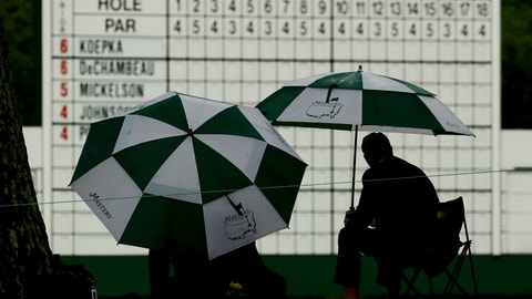 <p>               Patrons watch from under umbrellas during the second round for the Masters golf tournament Friday, April 12, 2019, in Augusta, Ga. (AP Photo/Charlie Riedel)             </p>