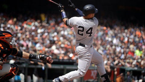 <p>               New York Yankees' Gary Sanchez swings for a grand slam off San Francisco Giants' Derek Holland in the fifth inning of a baseball game Saturday, April 27, 2019, in San Francisco. (AP Photo/Ben Margot)             </p>