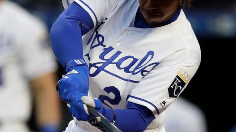 <p>               Kansas City Royals' Adalberto Mondesi hits an RBI single off Minnesota Twins starting pitcher Jose Berrios during the first inning of a baseball game at Kauffman Stadium in Kansas City, Mo., Tuesday, April 2, 2019. (AP Photo/Orlin Wagner)             </p>