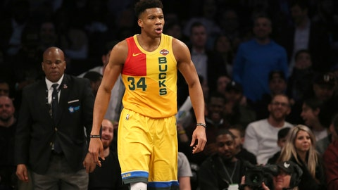 <p>               Milwaukee Bucks forward Giannis Antetokounmpo reacts during the first half of an NBA basketball game against the Brooklyn Nets, Monday, April 1, 2019, in New York. (AP Photo/Michael Owens)             </p>