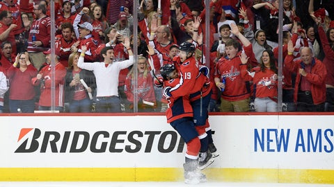 <p>               Washington Capitals center Nicklas Backstrom (19), of Sweden, celebrates his goal with right wing Devante Smith-Pelly, left, during the second period of Game 5 of an NHL hockey first-round playoff series against the Carolina Hurricanes, Saturday, April 20, 2019, in Washington. (AP Photo/Nick Wass)             </p>