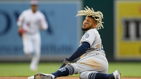 <p>               San Diego Padres' Fernando Tatis Jr. reacts after he stole second base during the fourth inning of a baseball game against the Washington Nationals, Sunday, April 28, 2019, in Washington. (AP Photo/Nick Wass)             </p>